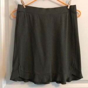 LOFT hunter green, knit miniskirt with ruffle hem